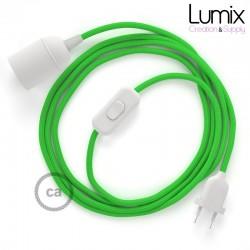 Lampe baladeuse câble textile souple Vert lime effet soie