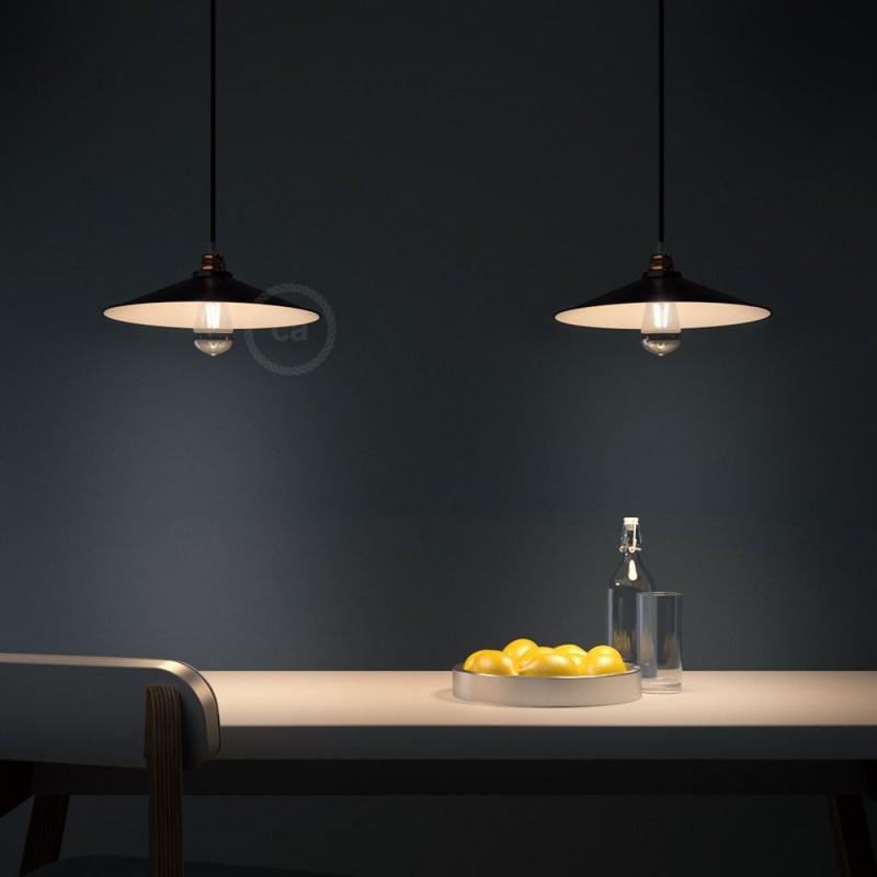 suspension abat jour m tal noir maill style industriel. Black Bedroom Furniture Sets. Home Design Ideas