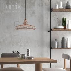 Suspension Sonar métal cuivre avec rosace plafond métal couleur au choix