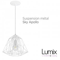Suspension Sky Apollo grande cage en métal blanc - douille E27