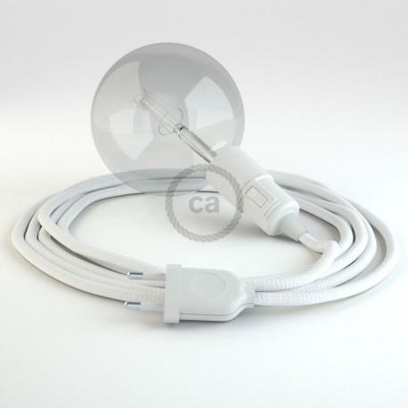 Lampe baladeuse e27 c ble textile blanc - Kit douille cable interrupteur ...