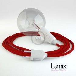Lampe baladeuse E27 câble textile ROUGE, douille thermoplastique avec interrupteur intégré