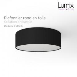 Plafonnier rond revêtement toile noire - diam 40/50/80 cm