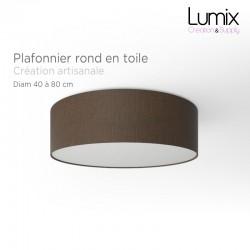 Plafonnier rond revêtement toile brun - diam 40/50/80 cm