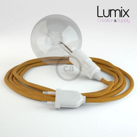 Lampe baladeuse E27 câble textile OR, douille thermoplastique avec interrupteur intégré