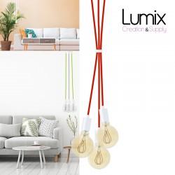 Suspension 3 lampes style moderne BLANC sur-mesure - câble textile au choix