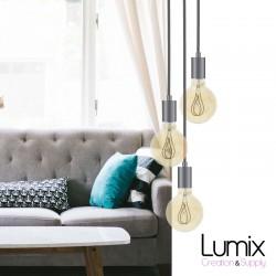 Suspension 3 lampes style moderne CHROME sur-mesure - câble textile au choix