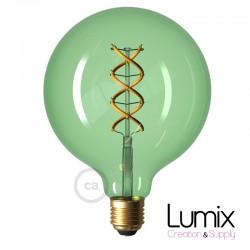 Ampoule gros Globe vert transparent à filament LED - 5 W / 220 Volts - G125