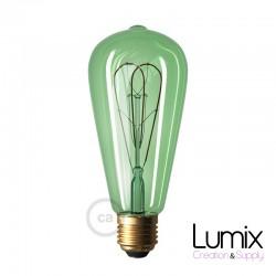 Ampoule ST64 LED double boucle - verre teinté vert - 5 W / 220 Volts