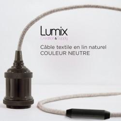 Lampe baladeuse câble lin et douille vintage perle noire avec bague pour abat-jour