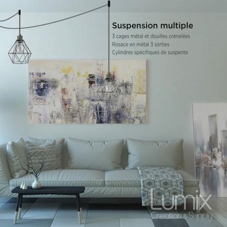 Suspension multiple 3 lampes avec cage diamant métal - Câble LIN gris