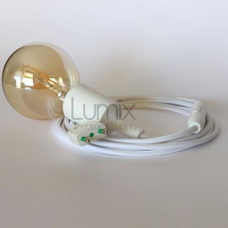 Lampe baladeuse à douille silicone blanche et câble textile blanc effet soie