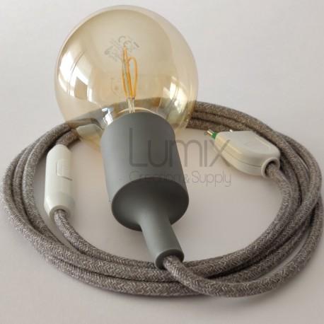 Lampe baladeuse à douille silicone grise et câble textile lin gris