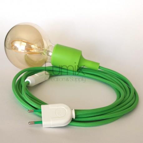 Lampe baladeuse à douille silicone vert lime et câble textile vert lime