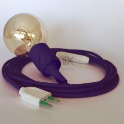 Lampe baladeuse à douille violette et câble textile vert violet
