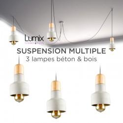 Suspension multiple 3 lampes béton et bois - 3 modèles aux choix