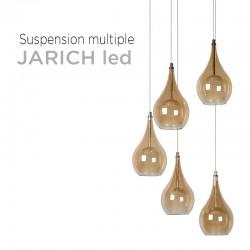Suspension multiple 5 lampes LED avec rosace XXL métal