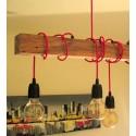 Poutre lumineuse bois de chêne massif 6 lampes douilles porcelaines noires 220V - environ 100 cm de long sur 7 x 7cm