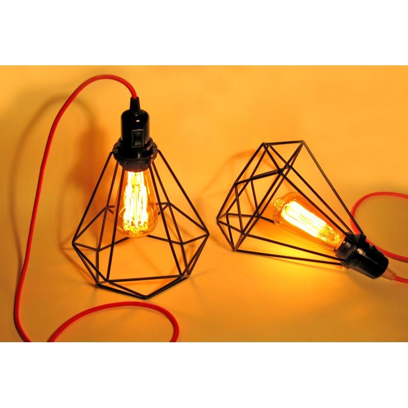 lampe baladeuse douille bak lite et interrupteur int gr avec c ble textile et cage acier forme. Black Bedroom Furniture Sets. Home Design Ideas