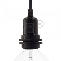 Douille E27 à bagues en bakélite noire avec interrupteur incorporé