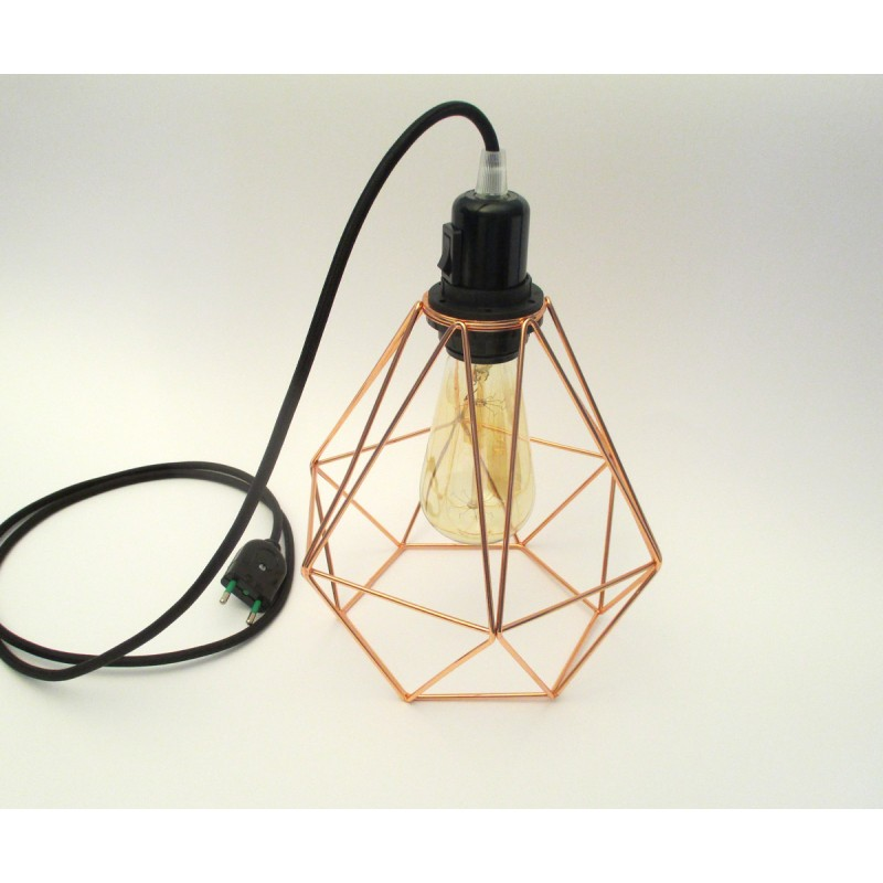 lampe baladeuse douille bak lite et interrupteur int gr avec c ble textile et cage cuivre forme. Black Bedroom Furniture Sets. Home Design Ideas
