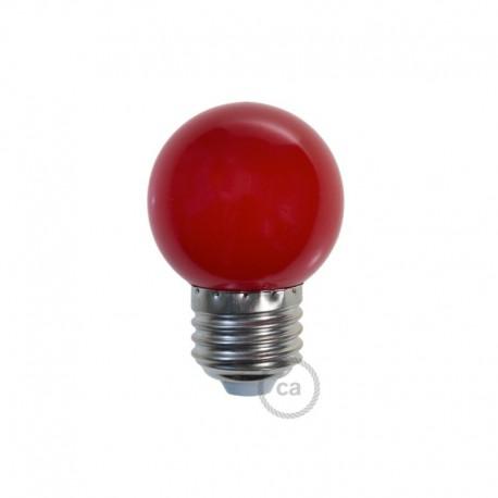 Ampoule LED décorative ROUGE - E27 / 220 Volts / G45 / 1W