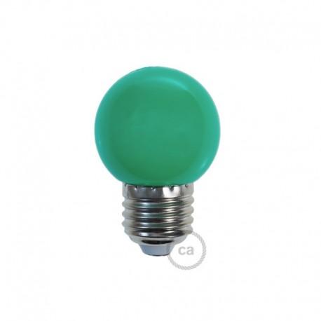 Ampoule LED décorative VERTE - E27 / 220 Volts / G45 / 1W