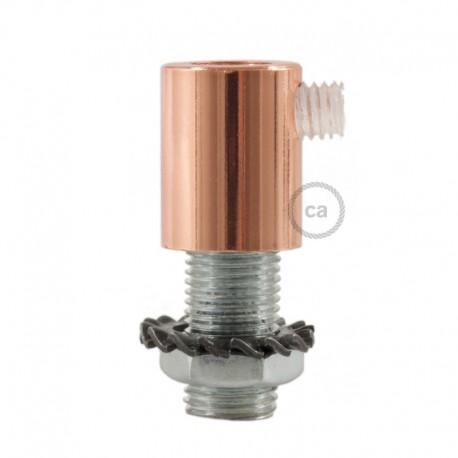 pass-câble rond métal avec finition cuivre avec tige, écrou et rondelle