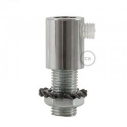 Serre-câble rond métal avec finition chrome avec tige filetée, écrou et rondelle
