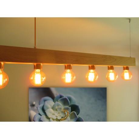 Poutre lumineuse bois de chêne massif 6 lampes douilles porcelaines noires 220V - 100 cm de long sur 7 x 7cm