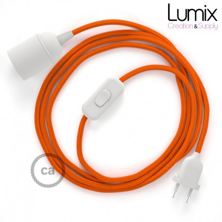 Lampe baladeuse câble textile souple orange effet soie