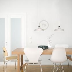 White ceramic pendant lamp industrial style bowl type