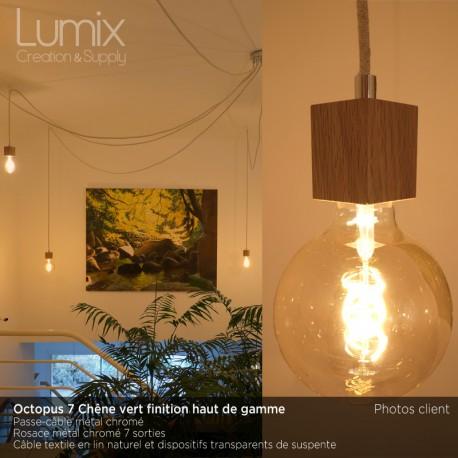 Suspension multiple OCTOPUS 7 lampes douille bois de chêne vert- câble textile
