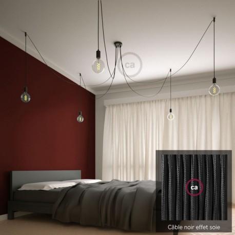 Suspension multiple OCTOPUS 5 lampes - câble textile extra-souple NOIR