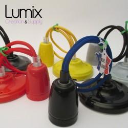 Suspension porcelaine 7 couleurs au choix avec câble textile couleur