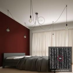 Multiple pendant lamp OCTOPUS 5 Black metal - natural linen cable anthracite color