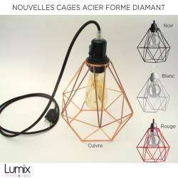 XXL steel cage portable lamp to stand or suspension with diamond-shaped steel cage lampshade