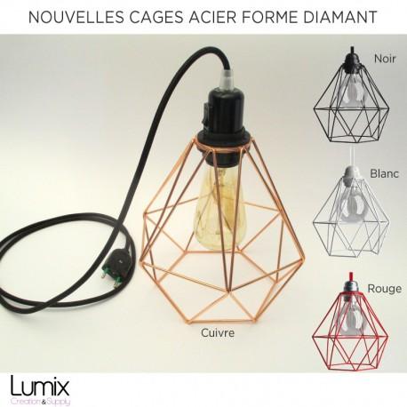 Nouveau modèle de Lampe baladeuse cage acier noir XXL à poser ou suspension avec abat-jour cage acier forme diamant