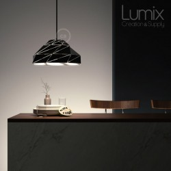 Polygon Art pendant lamp in opaque black metal with E27 socket