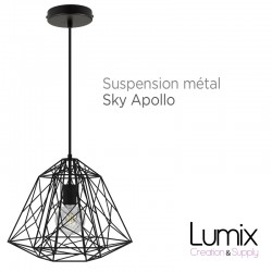Suspension Sky Apollo grande cage en métal noir - douille E27