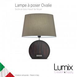 Lampe de table Ovalie, abat-jour toile et socle Noyer
