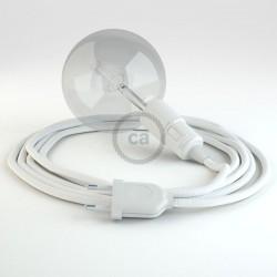 Lampe baladeuse E27 câble textile BLANC, douille thermoplastique avec interrupteur intégré