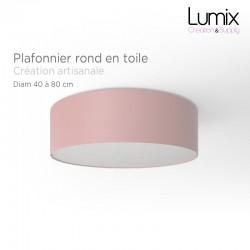 Plafonnier rond revêtement toile rose - diam 40/50/80 cm
