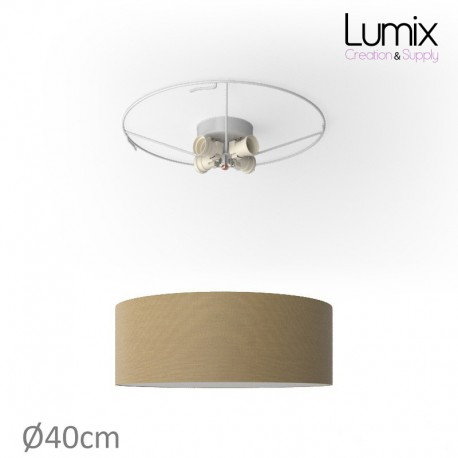 Plafonnier rond revêtement toile Noisette - diam 40/50/80 cm