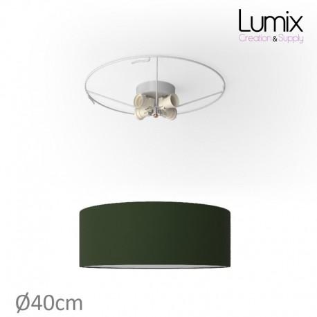 Plafonnier rond revêtement toile Vert foncé - diam 40/50/80 cm