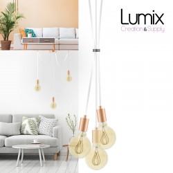 Suspension 3 lampes style moderne CUIVRE sur-mesure - câble textile au choix