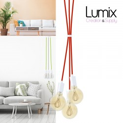 Custom-made WHITE modern style 3-light suspension - choice of textile cable