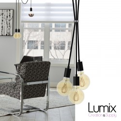 Custom-made BLACK modern style 3-light pendant lamp - choice of textile cable