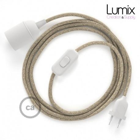 Lampe baladeuse câble textile en Lin souple couleur naturelle