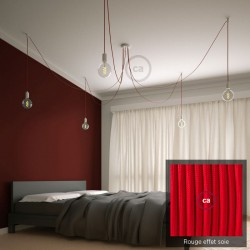 Multiple pendant lamp OCTOPUS 5 Metal - red silk-effect cable